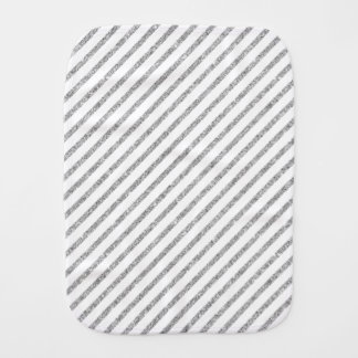 Elegant Silver Glitter Diagonal Stripes Pattern Burp Cloth