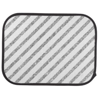 Elegant Silver Glitter Diagonal Stripes Pattern Car Carpet