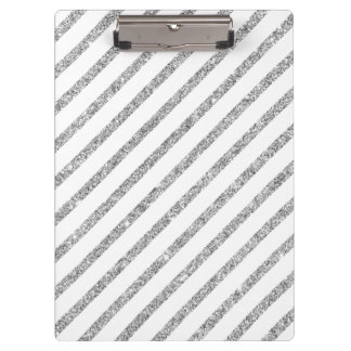 Elegant Silver Glitter Diagonal Stripes Pattern Clipboard