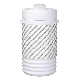 Elegant Silver Glitter Diagonal Stripes Pattern Cooler