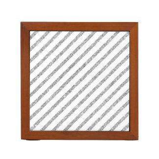 Elegant Silver Glitter Diagonal Stripes Pattern Desk Organizer