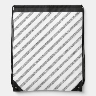 Elegant Silver Glitter Diagonal Stripes Pattern Drawstring Bag
