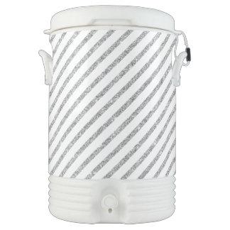 Elegant Silver Glitter Diagonal Stripes Pattern Drinks Cooler