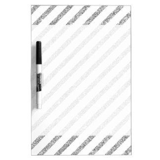 Elegant Silver Glitter Diagonal Stripes Pattern Dry Erase Board