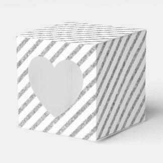 Elegant Silver Glitter Diagonal Stripes Pattern Favor Box
