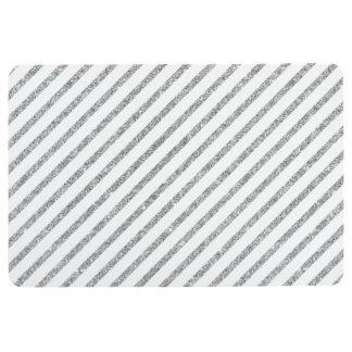 Elegant Silver Glitter Diagonal Stripes Pattern Floor Mat