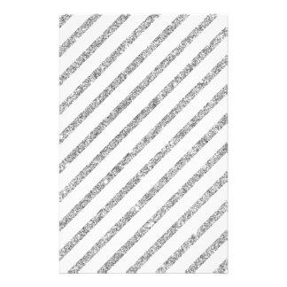 Elegant Silver Glitter Diagonal Stripes Pattern Flyer