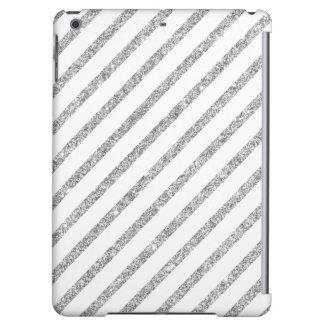 Elegant Silver Glitter Diagonal Stripes Pattern iPad Air Case