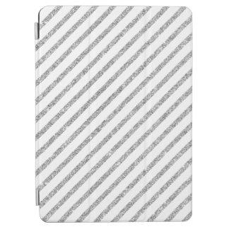 Elegant Silver Glitter Diagonal Stripes Pattern iPad Air Cover