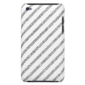 Elegant Silver Glitter Diagonal Stripes Pattern iPod Touch Case-Mate Case