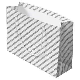 Elegant Silver Glitter Diagonal Stripes Pattern Large Gift Bag