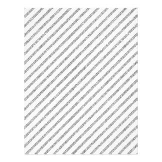 Elegant Silver Glitter Diagonal Stripes Pattern Letterhead