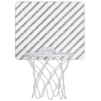 Elegant Silver Glitter Diagonal Stripes Pattern Mini Basketball Hoop