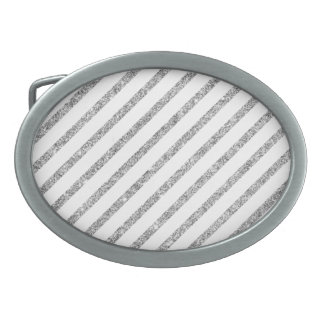 Elegant Silver Glitter Diagonal Stripes Pattern Oval Belt Buckles