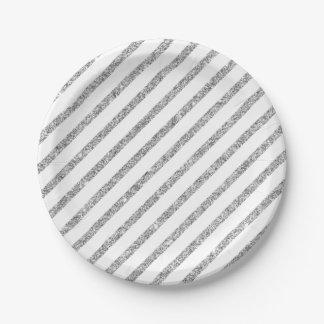 Elegant Silver Glitter Diagonal Stripes Pattern Paper Plate