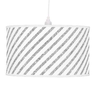 Elegant Silver Glitter Diagonal Stripes Pattern Pendant Lamp