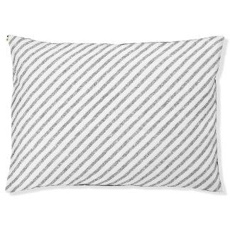Elegant Silver Glitter Diagonal Stripes Pattern Pet Bed