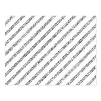 Elegant Silver Glitter Diagonal Stripes Pattern Postcard