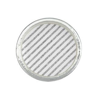 Elegant Silver Glitter Diagonal Stripes Pattern Rings