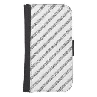 Elegant Silver Glitter Diagonal Stripes Pattern Samsung S4 Wallet Case