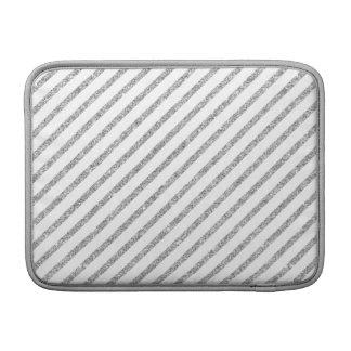 Elegant Silver Glitter Diagonal Stripes Pattern Sleeve For MacBook Air