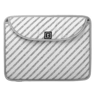 Elegant Silver Glitter Diagonal Stripes Pattern Sleeve For MacBooks