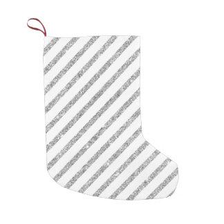 Elegant Silver Glitter Diagonal Stripes Pattern Small Christmas Stocking