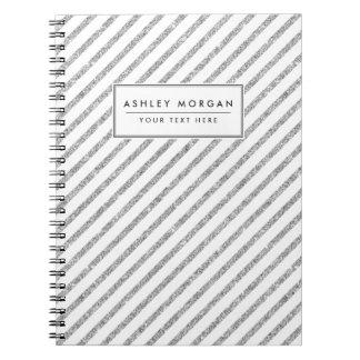 Elegant Silver Glitter Diagonal Stripes Pattern Spiral Notebook