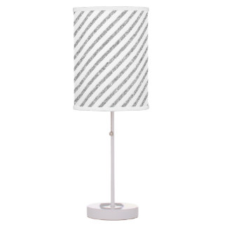 Elegant Silver Glitter Diagonal Stripes Pattern Table Lamp