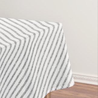 Elegant Silver Glitter Diagonal Stripes Pattern Tablecloth