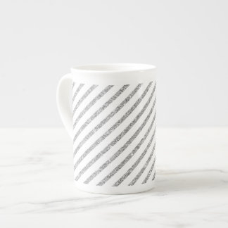 Elegant Silver Glitter Diagonal Stripes Pattern Tea Cup