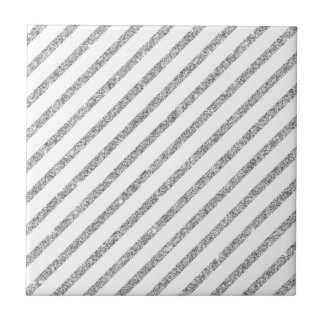 Elegant Silver Glitter Diagonal Stripes Pattern Tile