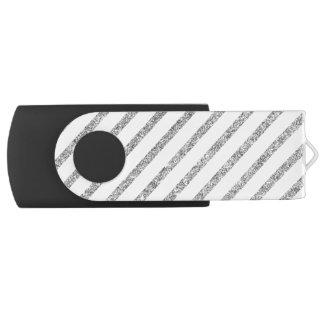 Elegant Silver Glitter Diagonal Stripes Pattern USB Flash Drive