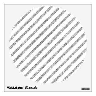 Elegant Silver Glitter Diagonal Stripes Pattern Wall Decal
