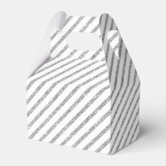 Elegant Silver Glitter Diagonal Stripes Pattern Wedding Favor Boxes