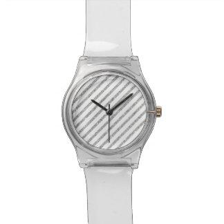 Elegant Silver Glitter Diagonal Stripes Pattern Wristwatch