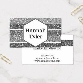 Elegant Silver Glitter Hexagon Business Cards