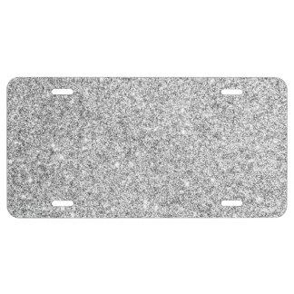 Elegant Silver Glitter License Plate
