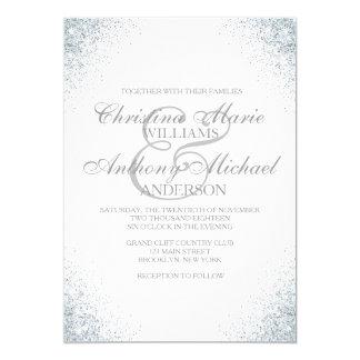 Elegant Silver Glitter Lights Wedding Invitation