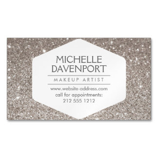 Elegant Silver Glitter Magnetic Business Card