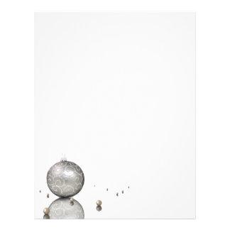 Elegant Silver Glitter Ornament - Xmas Letterhead