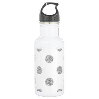 Elegant Silver Glitter Polka Dots Pattern 532 Ml Water Bottle