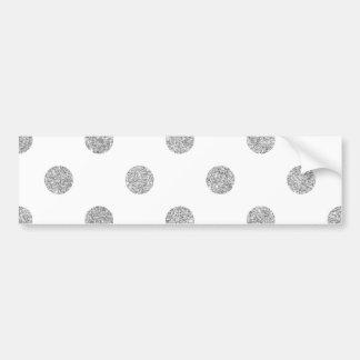 Elegant Silver Glitter Polka Dots Pattern Bumper Sticker