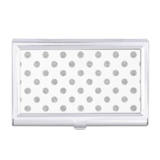 Elegant Silver Glitter Polka Dots Pattern Business Card Holders