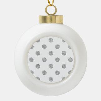 Elegant Silver Glitter Polka Dots Pattern Ceramic Ball Ornament