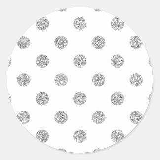 Elegant Silver Glitter Polka Dots Pattern Classic Round Sticker