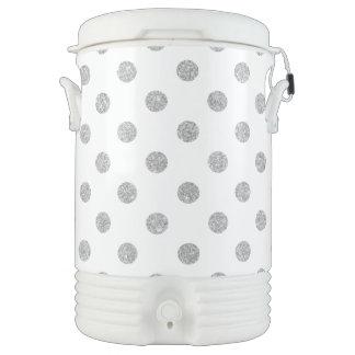 Elegant Silver Glitter Polka Dots Pattern Cooler