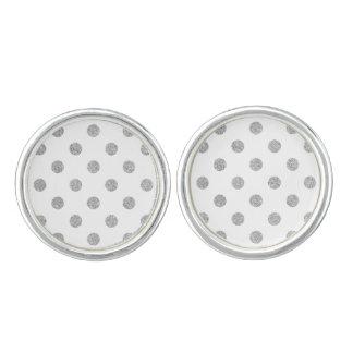 Elegant Silver Glitter Polka Dots Pattern Cufflinks