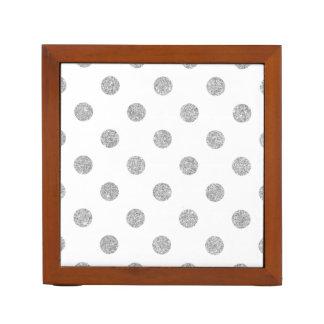 Elegant Silver Glitter Polka Dots Pattern Desk Organizer