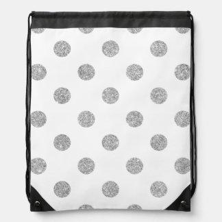 Elegant Silver Glitter Polka Dots Pattern Drawstring Bag